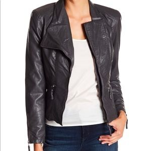 Blank NYC Leather fitted Moto jacket